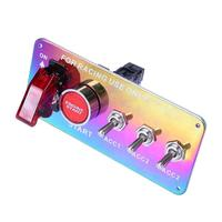 LED Rainbow Push Button Toggle Ignition Switch Panel Universal Durable Racing Car Auto Carbon Power Off Switch