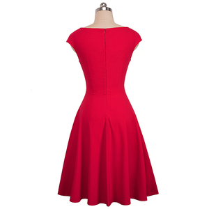 Image 4 - נחמד לנצח בציר מוצק צבע אלגנטי שמלות חג המולד עם כובע שרוול אונליין Pinup נשים התלקחות נדנדה שמלת A067