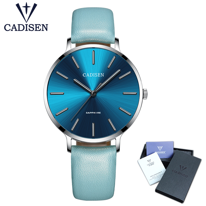 Nieuw 2018 CADISEN Leisure Quartz Thin Women Watch Luxury brand Dress Ladies Stainless steel Watch Ultradunne waterdichte horloges
