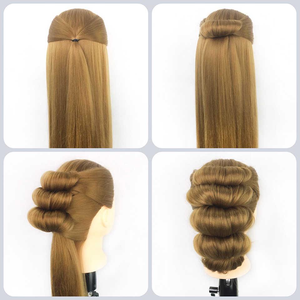Szkolenie zawodowe Qoxi głowa z długimi grubymi włosami praktyka madeup manekin fryzjerski lalki stylizacja maniqui tete na sprzedaż