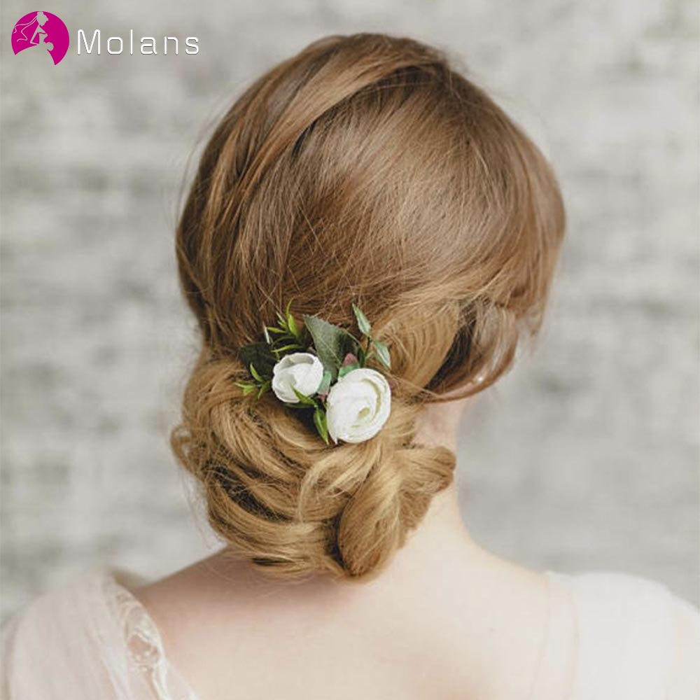 MOLANS Muti-color Imitation Flower Hair Comb For Bridal Hair Accessories Simple Fabric Floral With Silver Alloy Crotch Headpiece