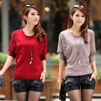 2016 New Winter Women Sweaters and Pullovers Batwing Lace Casual Knitted Tricotado Plus Size Woman Knitwear Top Red,Black,Brown