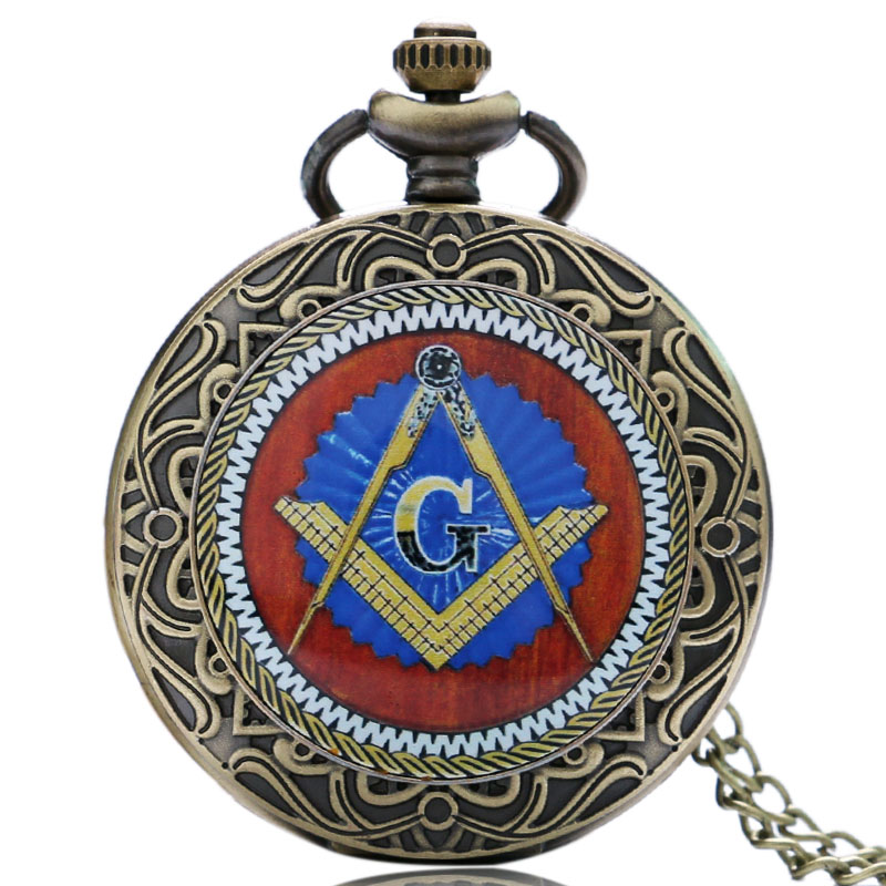 Retro Brozne Masonic Freemason Freemasonry Theme Pocket Watch Quartz Pendant Necklace Chain Relogio De Bolso lancardo fashion brown unisex vintage football pendant antique necklace pocket watch gift high quality relogio de bolso