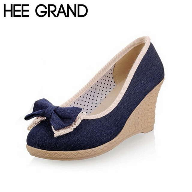 HEE GRAND Fashion Women Wedge Heel High Pumps Sweet With Big Denim Bowtie Soes Woman Three Colors Drop Shipping XWD384