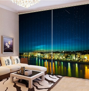 High quality custom 3d curtain fabric night view curtains 3d curtains