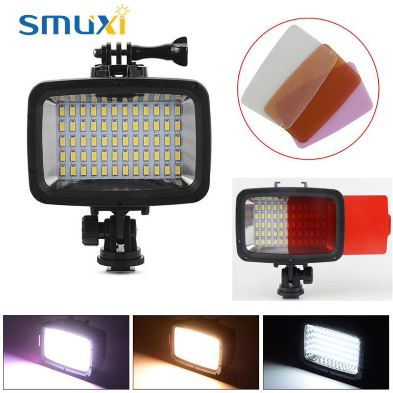 60 LED Filter Waterproof Camera Video Light Professional Camcorder Lamp 1800LM 40m Diving for GoPro Hero For DSLR etc. mcoplus le 160y 25m 82ft 5500k 2000lm diving underwater waterproof video led light for digital camera gopro hero camera