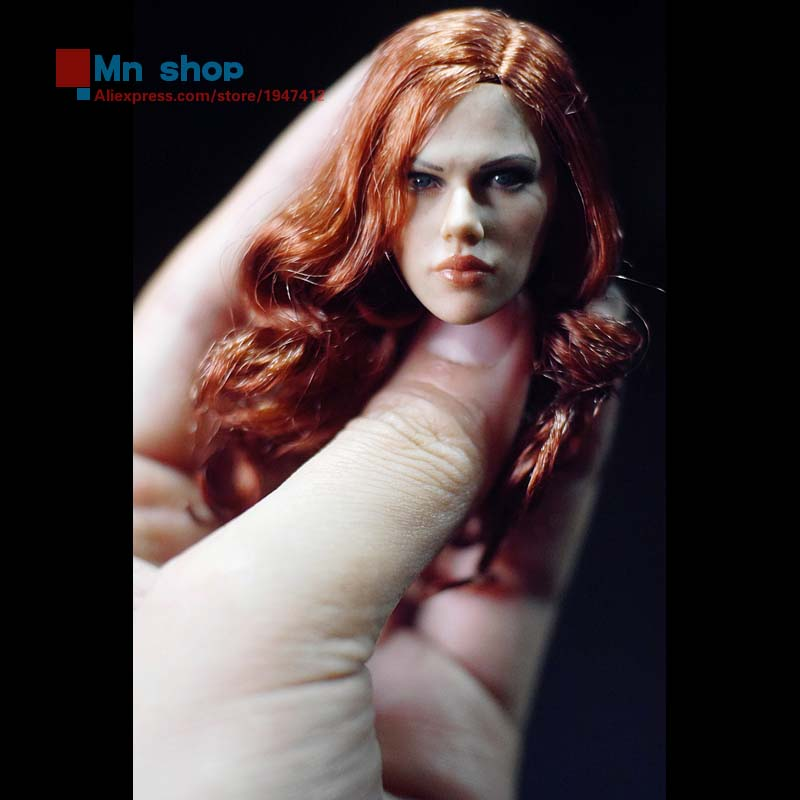 ФОТО 1/6 Beautiful Head Model Female Head Sculpt Black Widow 2.0 Long Hair Female Head Carving For 12
