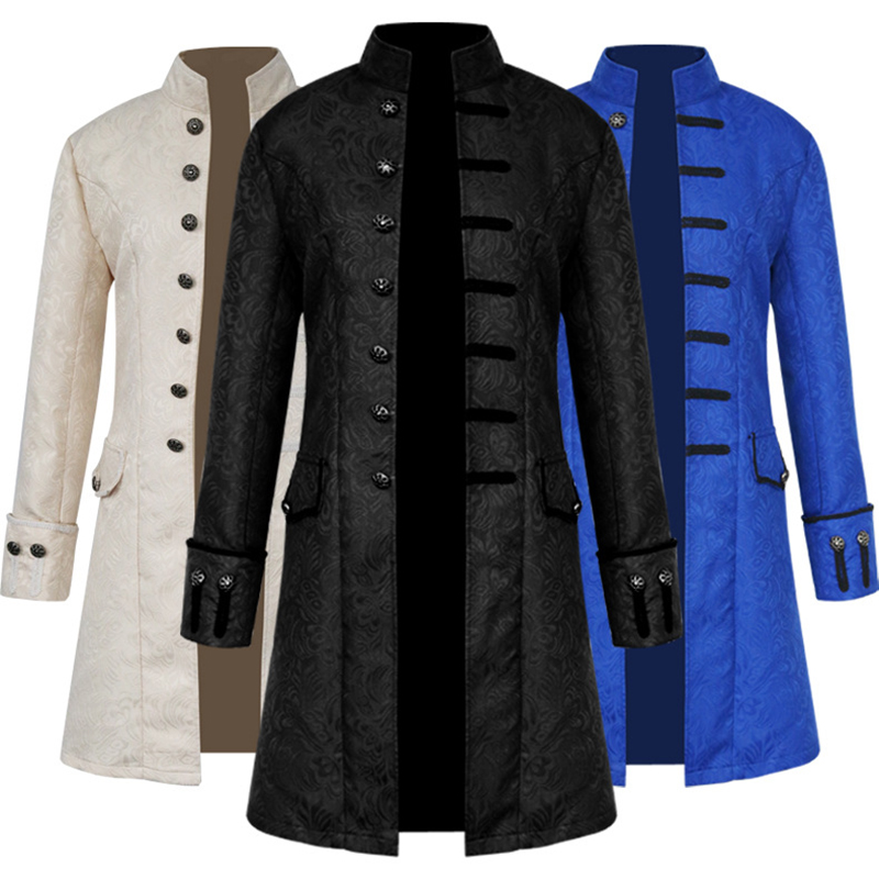 Men Victoria Edwardian Steampunk Trench Coat Frock Jacket Gentalmen Solid Vintage Overcoat Halloween Party Cosplay Costume