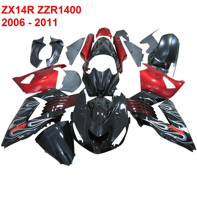 Custom Fairing KIT  For Kawasaki Ninja ZX14R ZZR1400 2006 - 2011  07 08 09 10 Fairings ( RED )  xl58