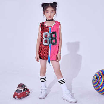 2018 Hip Hop Dance Costumes Kids Sequin Vest Top Child Jazz Stage Dress Street Dancing Clothes Girls Performance Wear DNV10140