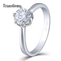 Transgems Solid 14K 585 White Gold 1 Carat ct Diameter 6.5mm F Color Lab Grown Moissanite Diamond Engagement Ring for Women