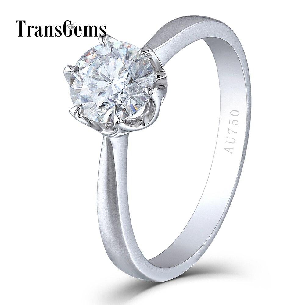 Transgems Solide 14 K 585 Blanc Or 1 Carat ct Diamètre 6.5mm F Couleur Lab Grown Moissanite Diamant de Fiançailles anneau pour les Femmes
