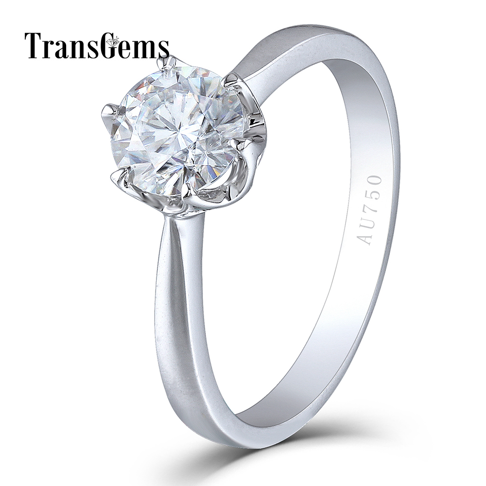 Transgems Solido 14 K 585 Oro Bianco 1 Carati ct Diametro 6.5mm F Colore Lab Grown Moissanite Del Diamante di Fidanzamento anello per Le Donne