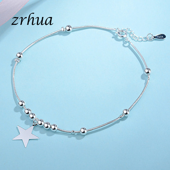 ZRHUA Vintage Fashion 925 Silver Anklets For Women Bohemian Summer Beach Evil Eye Chain Bracelet Foot Jewelry Wholesale Gifts 4