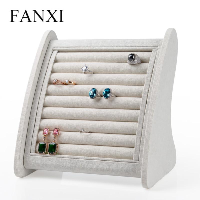 купить Fanxi Linen /Ice velvet Creative Bevel Ring Display Stand Earrings holder with 8 Lines Cardboard Jewelry Display Exhibitior Box онлайн