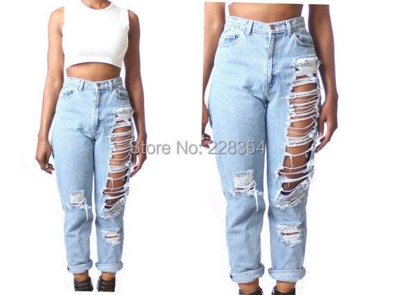 e751db6f5454be 2015 vita alta distrutto fidanzato bf jeans strappati, pantaloni in denim  per le donne feminino