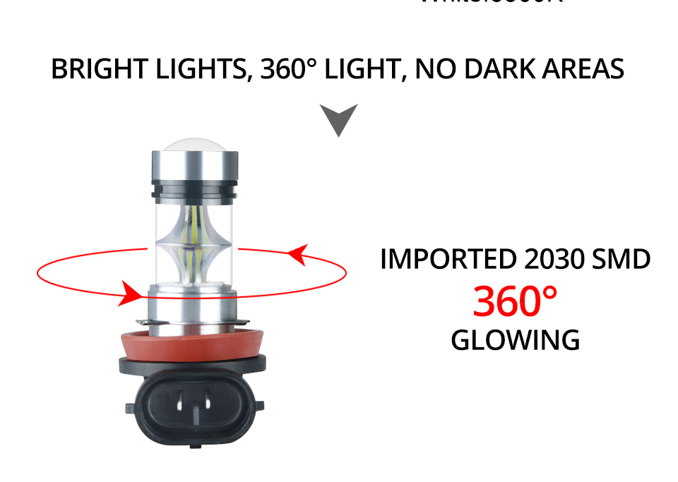 Aceersun Led H8 H11 H10 Fog light bulb 9006 HB3 9005 ATV H1 H3 1200LM 6500K 12V 24V Car Driving Daytime Running Lamp motorcycle (4)