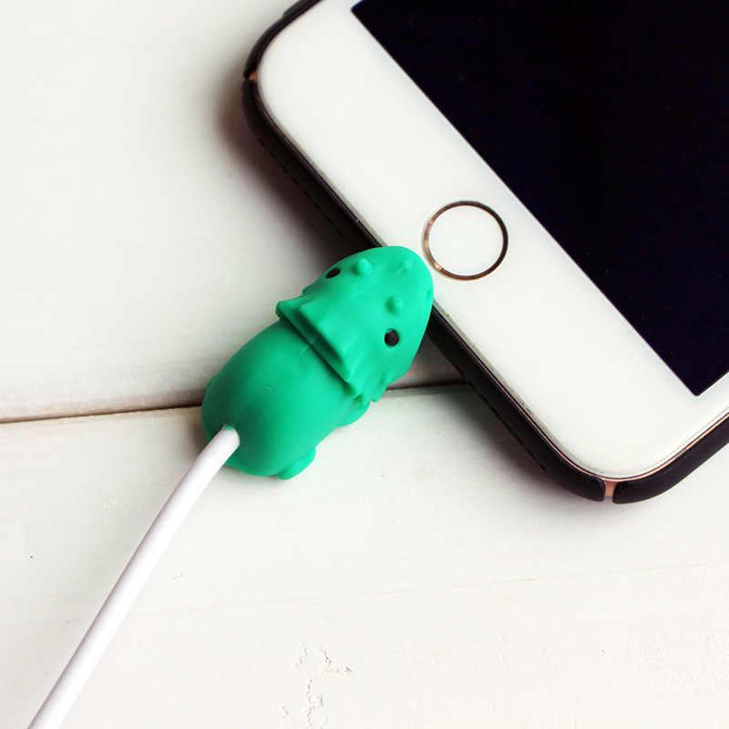 Kabel Gigitan Hewan Kartun Data Usb Charger Kabel Pelindung Smartphone Usb Kabel Iphone 8 7 6 Kabel USB Pemegang Telepon Bite