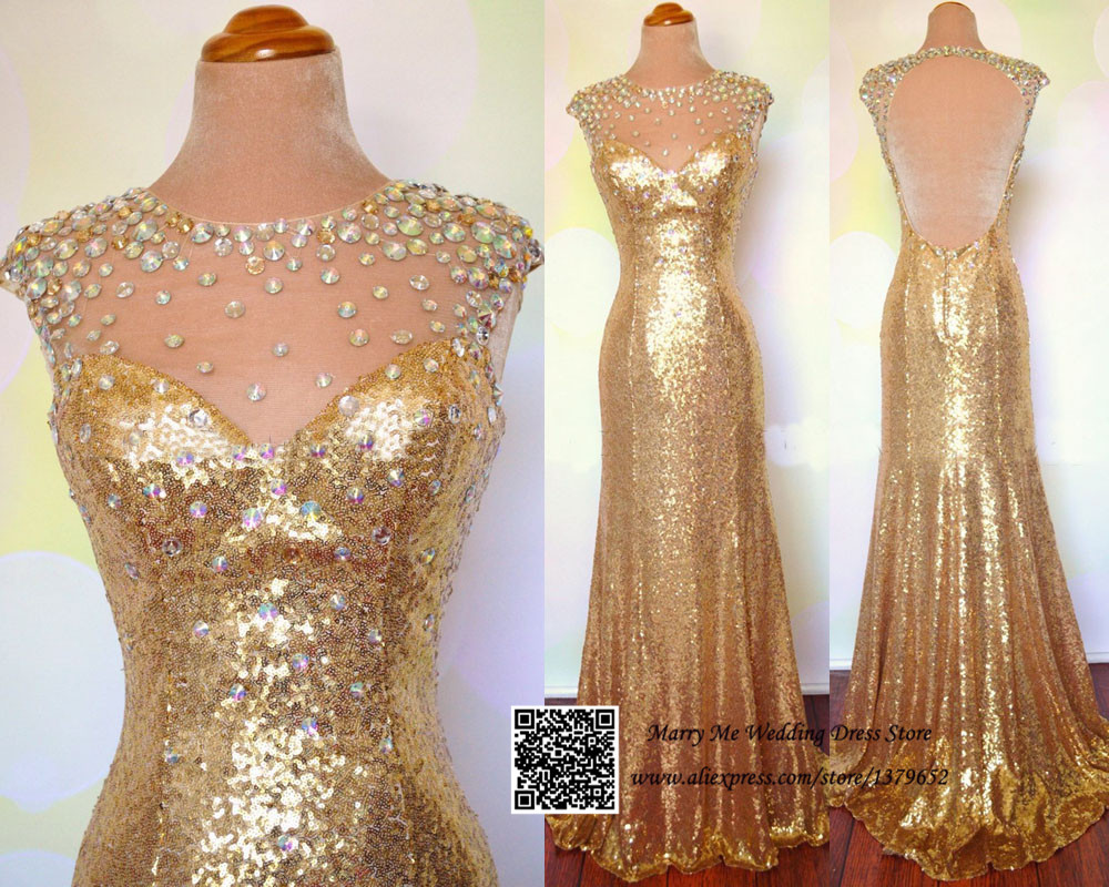 Real Photos Gold Shimmering Sequin Crystal Special Occasion Dresses Long Evening Prom Dress Gown 2017 Backless In From Weddings Events On