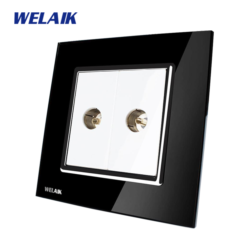 WELAIK  Free shiping Crystal Glass Panel 1Frame EU Black Wall Socket TV  socket A182TVB free shiping crystal