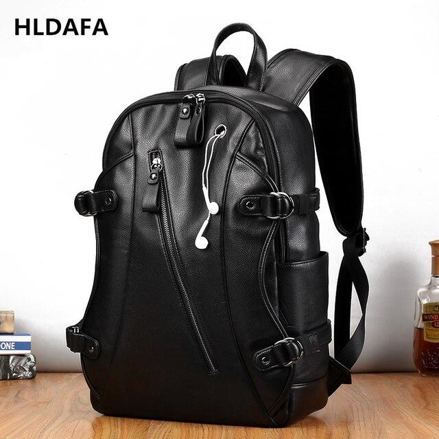 17 Inch Laptop Bag Men Black Pu Leather Shoulder Fashion Business Large Capacity