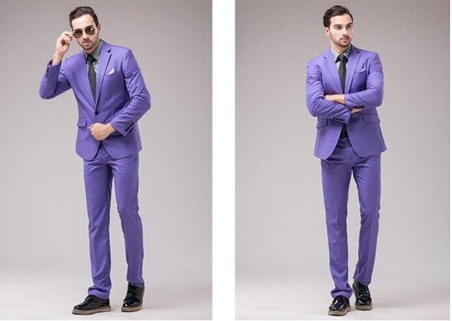 2018 Light Purple Men Suit Formal Simple Smart Casual Men Suits