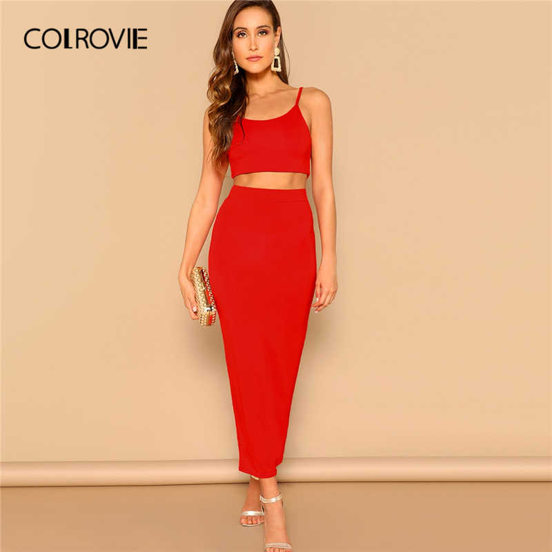254c170b393f COLROVIE Red Crop Elegant Cami Top And Bodycon Skirt Set Women Clothing  2019 Spring Streetwear Sleeveless