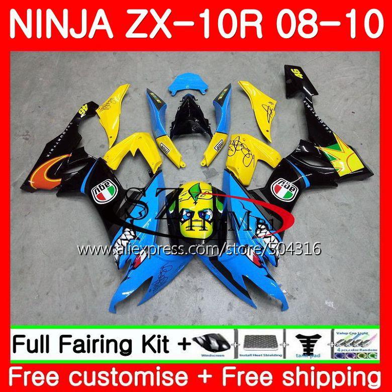 Bodywork For KAWASAKI NINJA ZX 10 R ZX10R Cayn black ZX1000C 18SH17 ZX 10R 08 09 10 ZX1000 ZX 10R 2008 2009 2010 Fairings kit