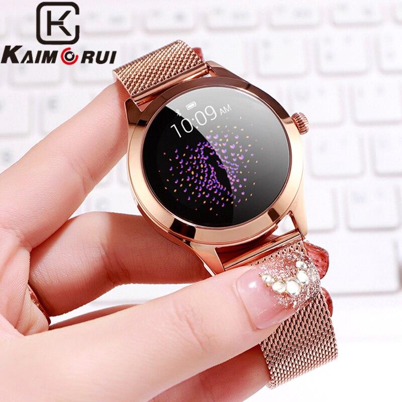 Smart Watch Women Pedometer Monitor Bluetooth Smartwatch IP68 Waterproof Call Reminder Heart Rate Metal Case Ladies