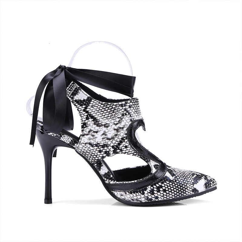 2019 nieuwe enkelband pompen vrouw hoge hakken lace up slingback stiletto slangenhuid patroon uitsparing wees teen runway schoenen vrouwelijke