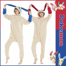 font b Anime b font Pokemon Minun Plusle Pajamas Homewear Daily Home Sleepwear Unisex Blue