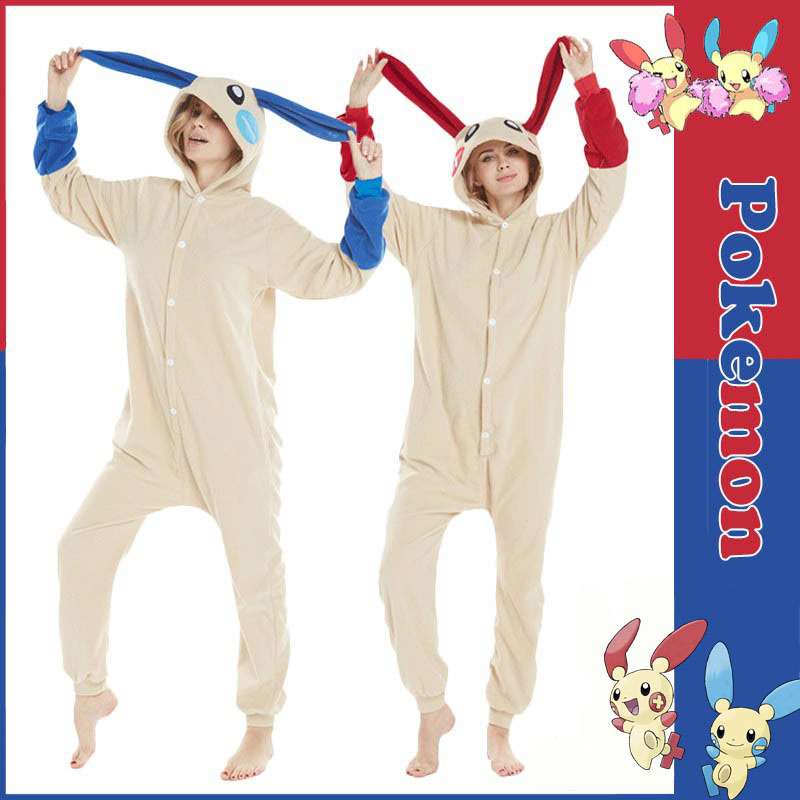 Anime Pokemon Minun Plusle Pajamas Homewear Daily Home Sleepwear Unisex Blue And Red Onesies Fleece Warm Jumpsuits For Adults