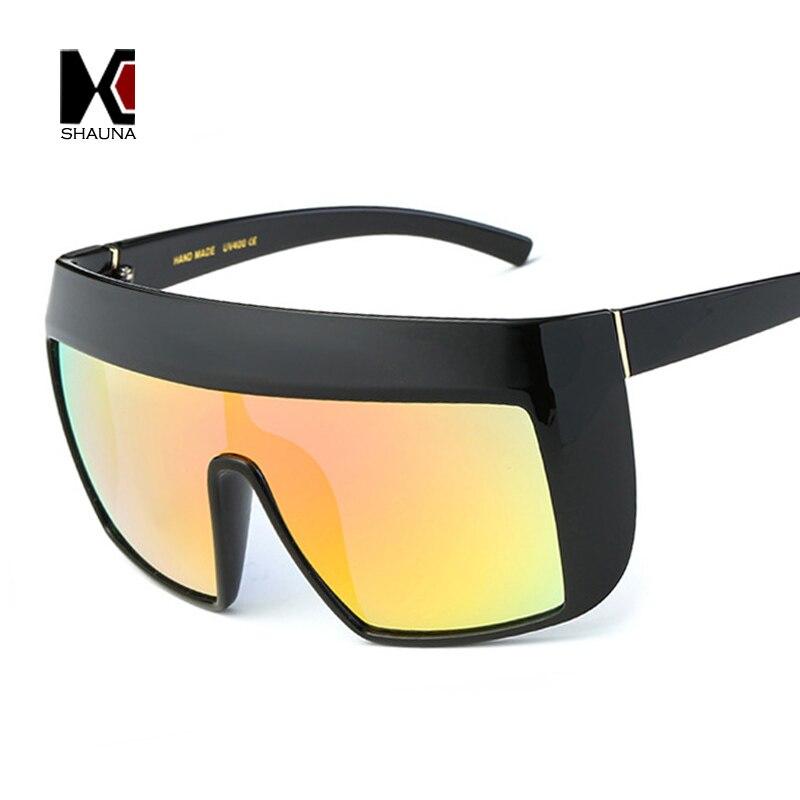 SHAUNA 9 Cores Popular Lente Integrada de Grandes Dimensões Mulheres Goggle  Óculos de Sol Da Moda Homens Óculos de Lente Reflexiva 170ece6f7d