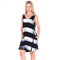 Cross Border Electricity Suppliers 2017 Summer Tie Dyed Pocket Leisure Time Vest Dress