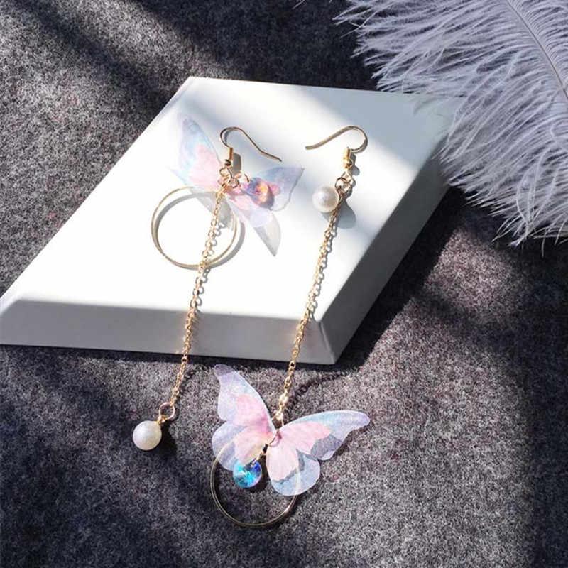 קוריאני רטרו אסימטרית פרפר חיקוי פרל עגילי אופנה עגול פרח Brincos ארוך הצהרת כנפי עגילי תכשיטים