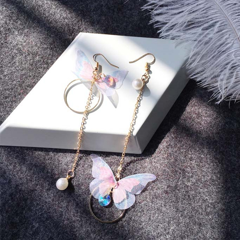 Korean Retro Asymmetric Butterfly Imitation Pearl Earrings Fashion Round Flower Brincos Long Statement Wings Earrings Jewelry