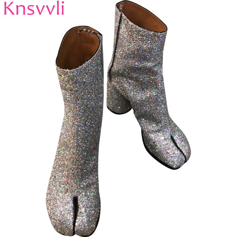 Knsvvli autumm winter new individuality cloven toe short boots women chunky high heel fashion sequin boots woman martin bootsKnsvvli autumm winter new individuality cloven toe short boots women chunky high heel fashion sequin boots woman martin boots