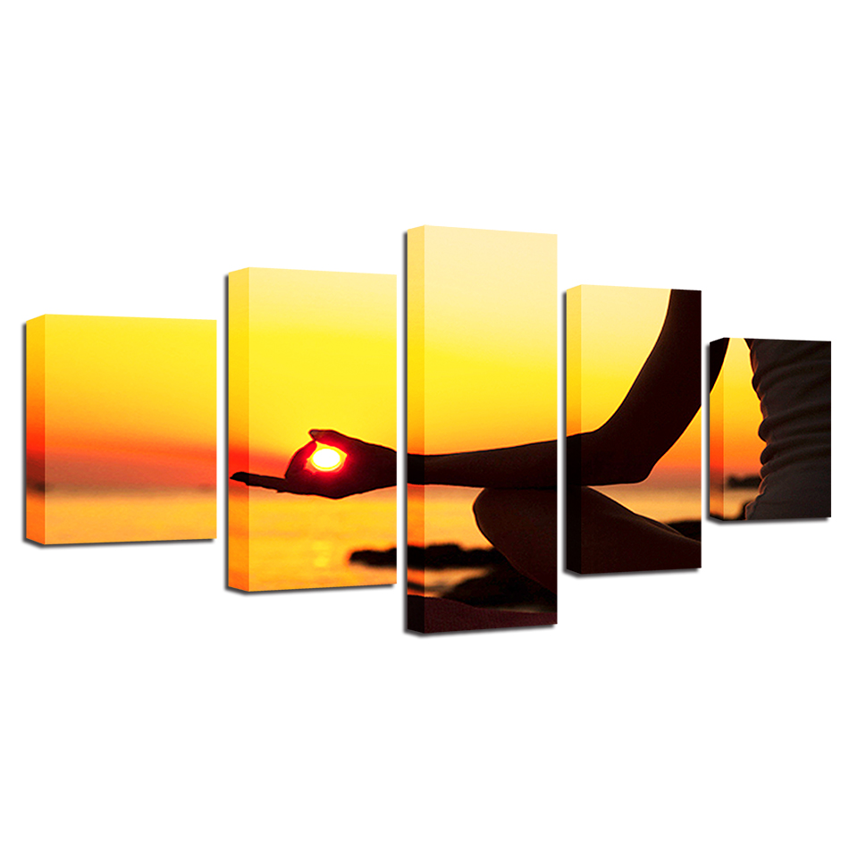 Home Decoration Modern HD Printed Paintings 5 Panel Sunset ...