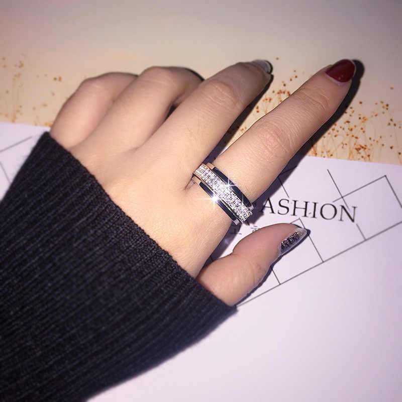 Fatti a mano Rotativo Dei Monili 925 Sterling Silver ring 2 Righe Micro Pavimenta 5A zircone Pietra di Fidanzamento Wedding band Anelli per le donne