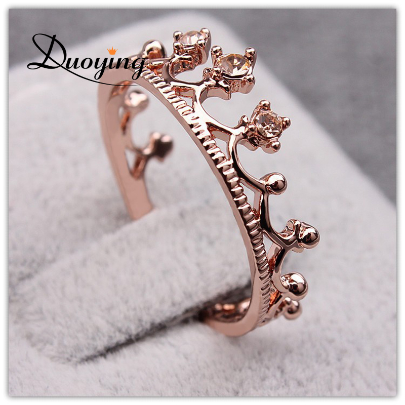 DUOYING Princess Crown Ring Trendy Jewelry Gold Wedding Engagement Band Rings For Women Crown Rings anillos
