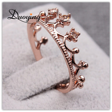 DUOYING Princess Crown Ring Trendy Jewelry Gold Wedding Engagement Band Rings For Women Crown Rings anillos de coronas de prin