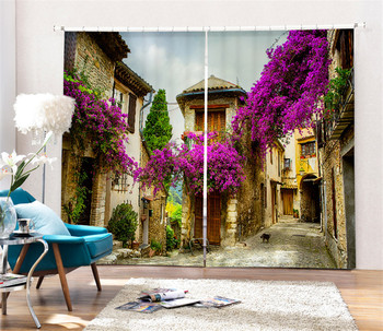 Purple vine Printing Blackout Curtains Living Room hotel Drapes Cortians Sunshade Window Curtain 3D Curtains