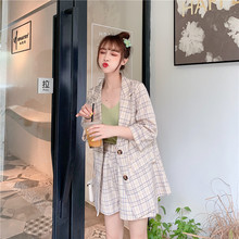 Kaguster Blazer set Womens suit with shorts Plaid pink Long Summer tute donna two piece Office Lady womens office sets