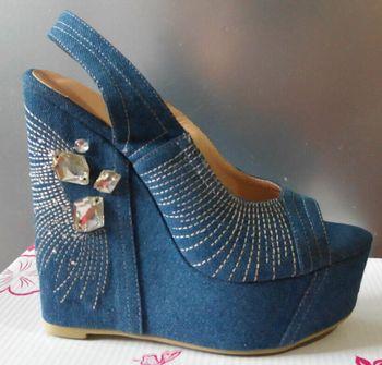 Real picture fashion women rhinestone high heel denim pumps spring summer peep toe slip-on wedge shoes woman wedding party dress