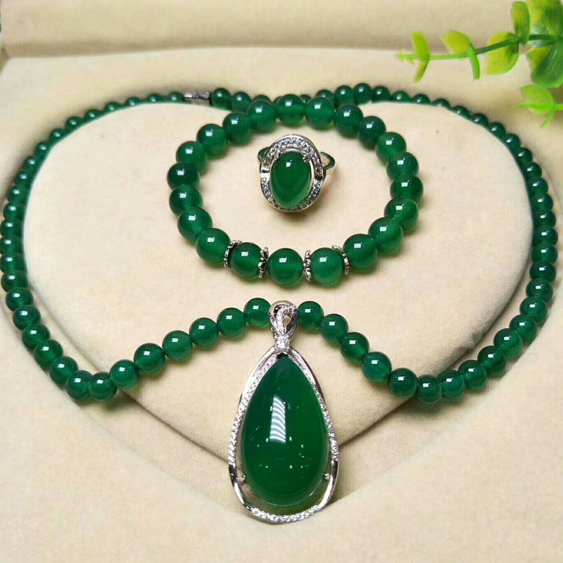 yu xin yuan 925 Silver Jade Medullary Ring Bracelet pendant necklace fashion jewelry Sets for ladies