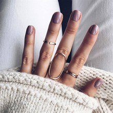2019 Bohemia Women Vintage 4 Pcs/set Oval Round Geometric Metal Opening Adjustable Gold Ring Set Fashion Clothing Jewelry