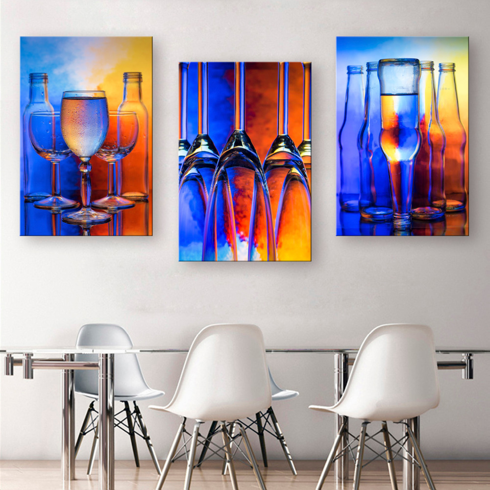 Art print oil painting glass wine decoration painting home for Modern glass wall art decor