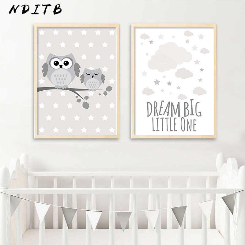... Woodland Animal Owl Canvas Poster Nursery Print Minimalist Wall Art  Painting Nordic Kids Decoration Pictures Baby ...