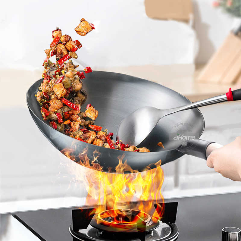 Chinese Iron Wok Traditional Handmade Iron Cook Pot Non Stick Pan