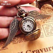 Свитер ожерелья Горячая круглые карманные часы Гарри Кулон Ретро снитч стимпанк Квиддич крылья часы NL-032